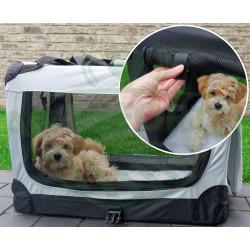 Prepravný box na psa alebo mačku - veľkosť L, šedý
