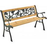 Záhradná lavička Beta - kovová s drevom, 122 x 54 x 73 cm