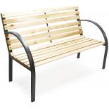 Záhradná lavička Gama - kovová s drevom, 120 x 62 x 82 cm