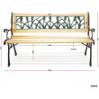 Záhradná lavička Delta - kovová s drevom, 122 x 54 x 73 cm