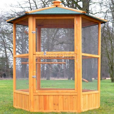 Voliéra pre vtákov - MAXI - masívne drevo, šesťhranná