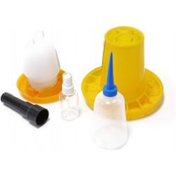 Základná sada pre liahnutie - SET - krmítko, napájačka, postrekovač vajec, fľaštička a prosvětlovačka vajec